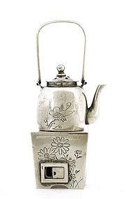 Old Japanese Sterling Silver Salt Pepper Hibachi Mk