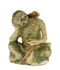 19C Chinese Soapstone Louhan Figurine Figure