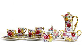 Old Japanese Nippon Chocolate Teapot Tea Set Rose