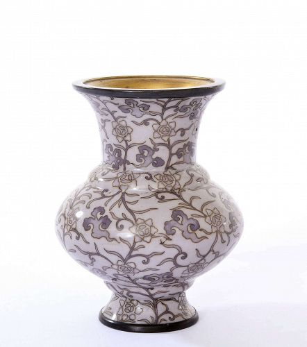 Japanese Lavender Wireless Cloisonne Vase Shakudo Mount