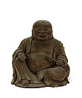 Late 19C Chinese Wood Carving Happy Buddha Figure