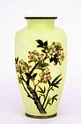 Japanese Cloisonne Vase Flower Blossom Mk