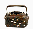 Meiji Japanese Wood Hand Warmer Mother Pearl Copper