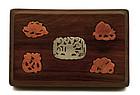 Early 20C Chinese Agate Huanghuali Wood Box