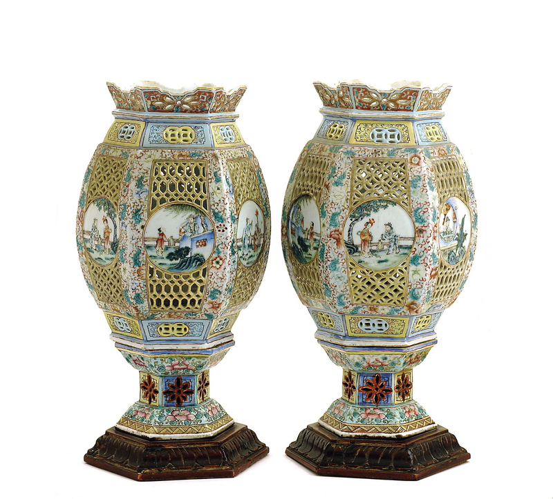 2 Chinese Famille Rose Reticulated Lamp Lantern