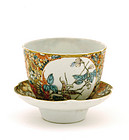 Chinese Famille Rose Mille Fleur Tea Bowl & Saucer