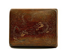 Chinese Inlay Redwood Carved Dragon Box