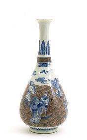 Meiji Japanese Kutani Blue White Red Vase Suda Seika I