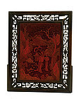19C Chinese Cinnabar Lacquer Plaque with Lady Figure