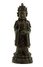 Lg 17C Ming Chinese Bronze Buddha Quan Kwan Yin