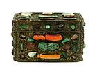 19C Chinese Bronze Jadeite Jade Coral Inlay Box