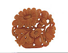 19C Chinese Coral Carved Flower Pendant