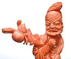 Chinese Coral Carved 8 Immortal God Figurine Figure