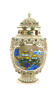Chinese Culture Revolution Silver Enamel Cover Jar