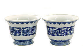 2 19C Chinese Blue & White Planter Jardiniere