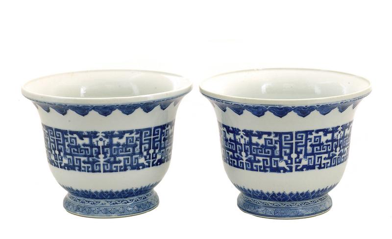 2 19C Chinese Blue & White Planter Jardiniere
