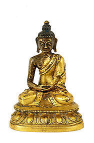 19C Chinese Tibetan Gilt Bronze Seated Buddha