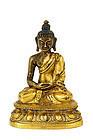 19C Chinese Tibetan Gilt Bronze Seated Buddha