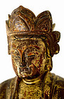 17C Chinese Gilt Lacquer Wood Trio Buddha Figurine
