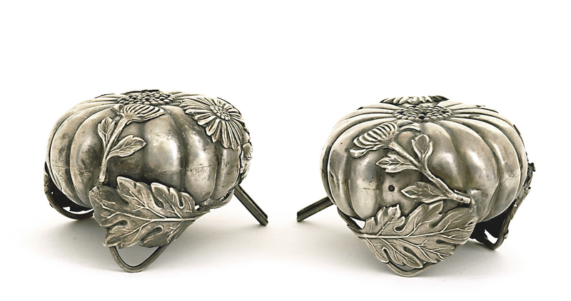 Japanese Silver Chrysanthemum Salt Pepper Marked