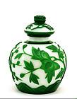 Early 20C Chinese Peking Glass Overlay Jar Vase