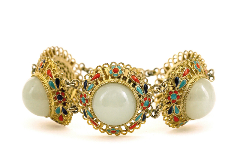 Chinese Silver Enamel White Jade Bracelet Mk