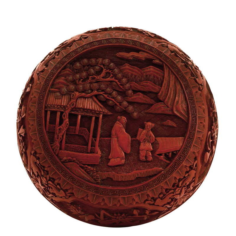 19C Chinese Lacquer Cinnabar Box Landscape Scene