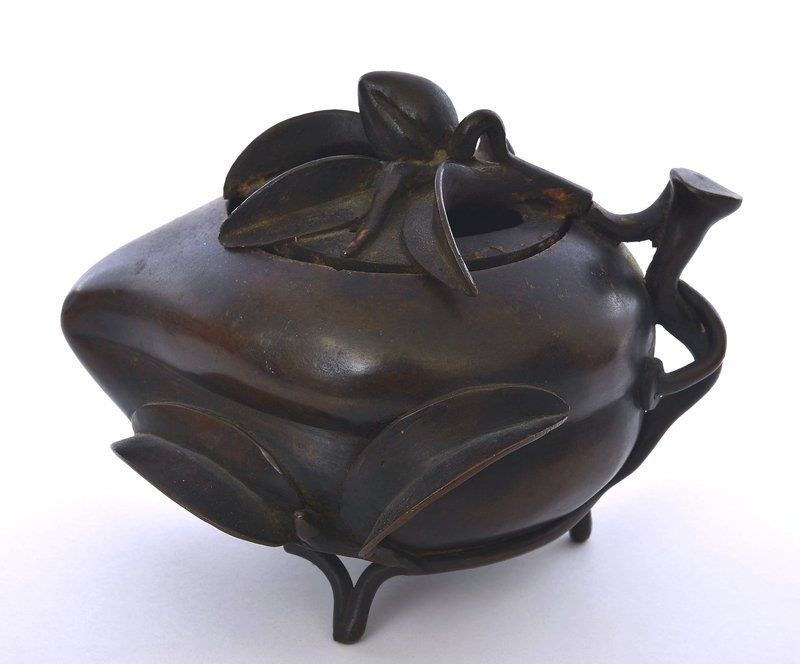 19C Chinese Bronze Peach Censer Incense Burner