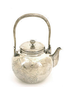 Old Japanese Gilt Silver Sterling Teapot Signed