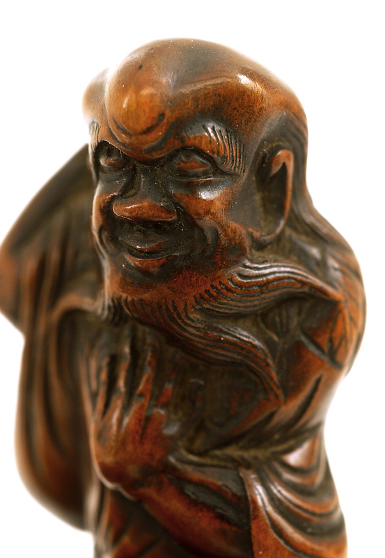 19C Japanese Wood Carved Netsuke Gamma Sennin Figurine