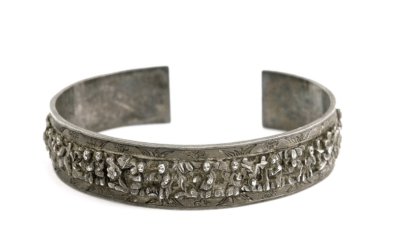 Late 19C Chinese Silver Bangle Bracelet Mk