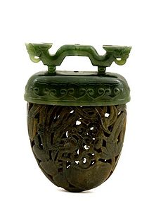 Early 20C Chinese Jade Carved Incense Holder Pomander