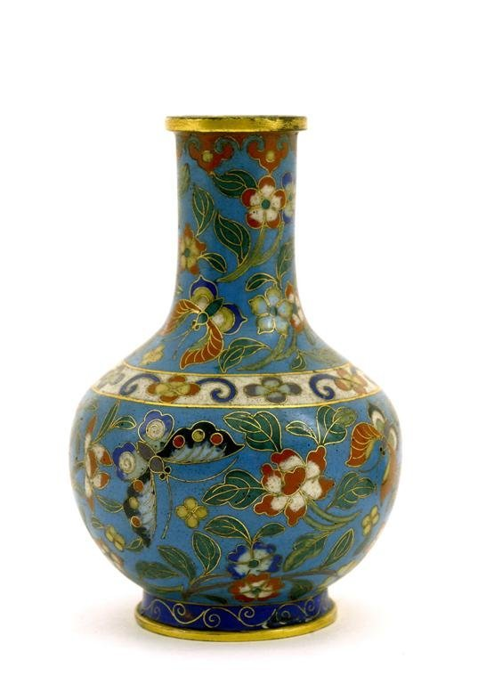 Late 18C Chinese Gilt Cloisonne Vase Butterfly
