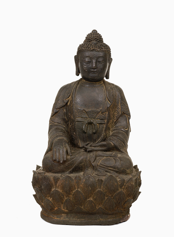17C Chinese Bronze Buddha Lotus Figure Figurine