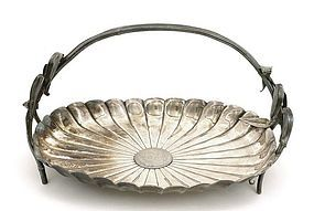 Japanese Silver Sterling Basket Dish Chrysanthemum