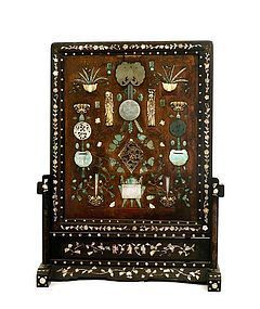 Early 20C Chinese Pearl Jade Inlaid Screen Panel