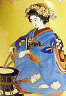 Japanese Yellow Cloisonne Geisha Vase Silver Rim