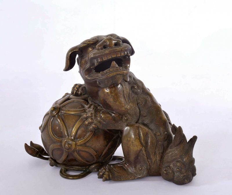 Late 19C Chinese Bronze Fu Foo Dog Lion Censer Marked