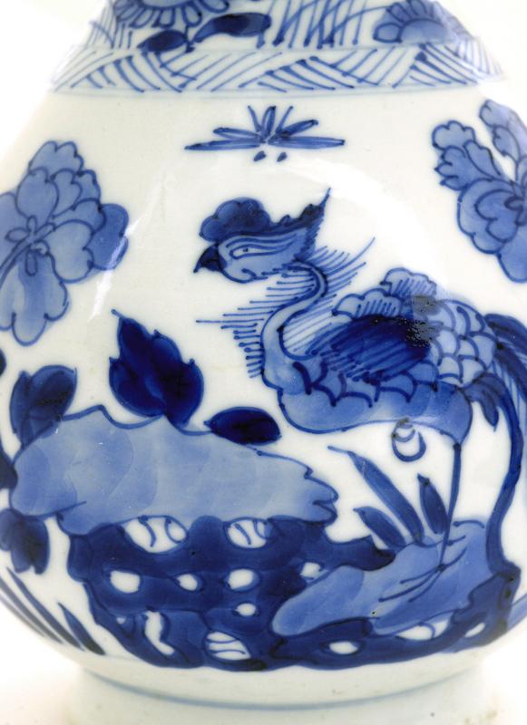 18C Chinese Blue & White Porcelain Vase Kangxi