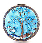 Early 20C Chinese Silver Enamel Compact Box Crane