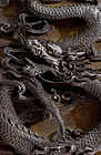 19C Chinese Wood Carved Dragon Panel Silver Inlay