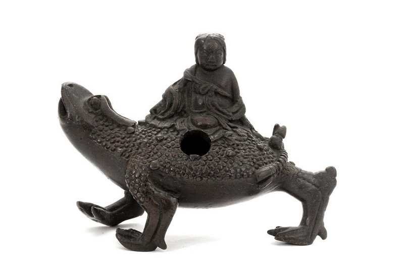 17C Chinese Bronze 3 Leg Toad Figure Water Dropper