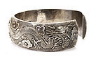 Early 20C Chinese Silver Dragon Thick Bangle Bracelet