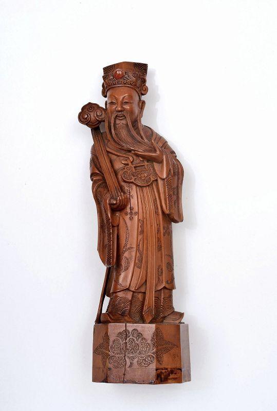 19C Chinese Boxwood Carved Immortal Figurine Ruyi