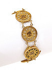 14K Gold Chinese Chirography Coin Disk Bracelet