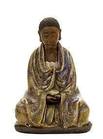 19C Chinese Shiwan Ceramic Damo Buddha Huo Jin 霍津