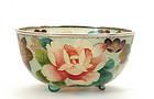Old Japanese Cloisonne Plique a Jour Bowl w Flower