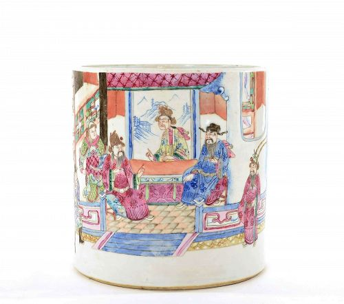 Chinese Famille Rose Medallion Scholar Brush Pot
