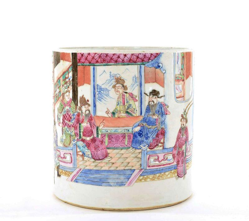 Chinese Famille Rose Medallion Scholar Brush Pot
