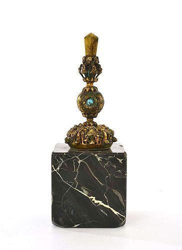 19C Chinese Gilt Bronze Mandarin Hat Finial Turquoise